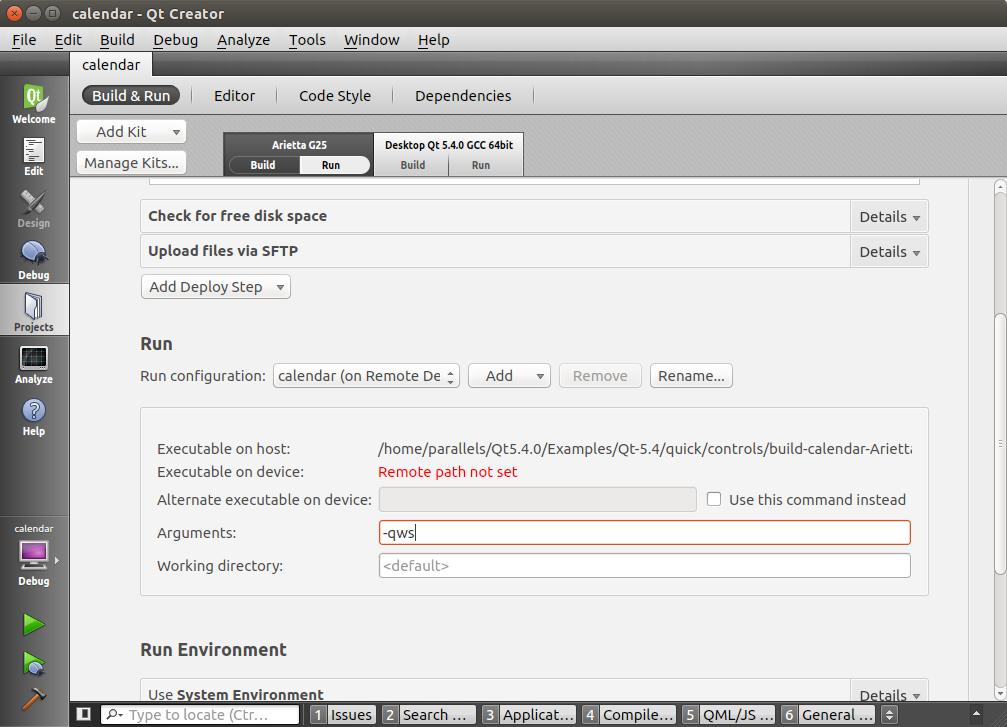 Qt Creator Deployment settings